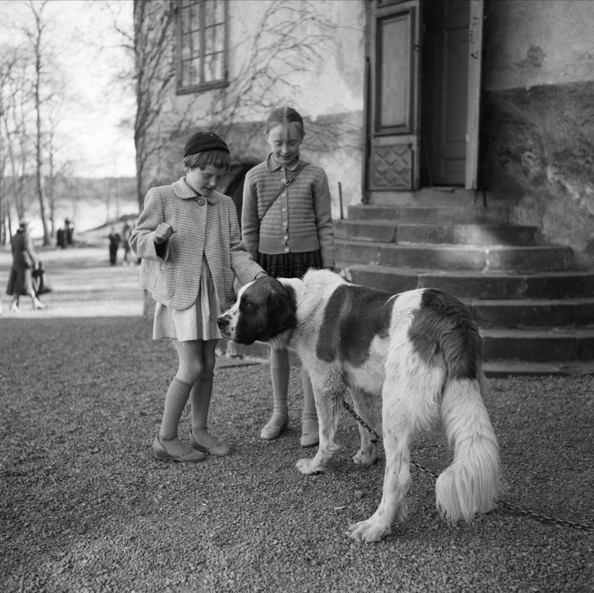 Upplands Fornminnesförenings vårutflykt till Rydboholms slott, Östra Ryds socken, Uppland 1955