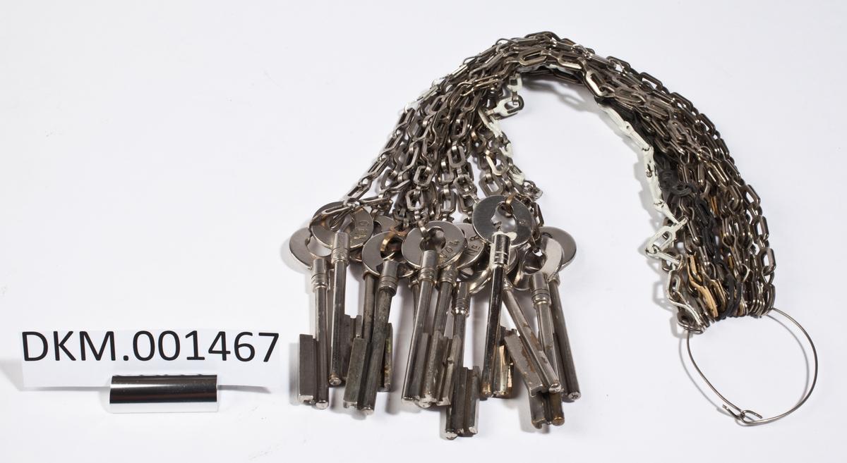 Knippe med 12 nøkler i stålkjettinger. På hver av nøklene er det risset inn ett tall mellom 1 og 12.