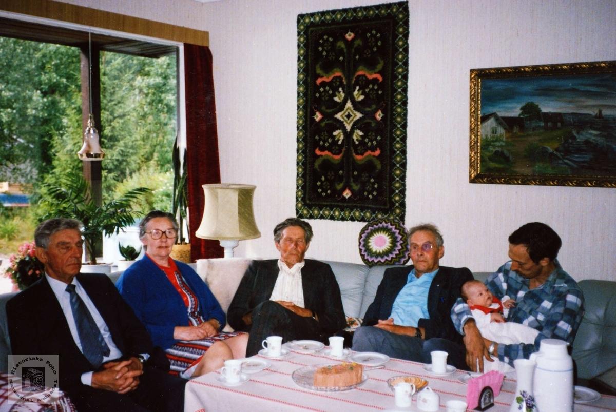 "Søskenflokken frå ""Der heime"" på Sveindal i Grindheim sammen med 2 yngre generasjoner."