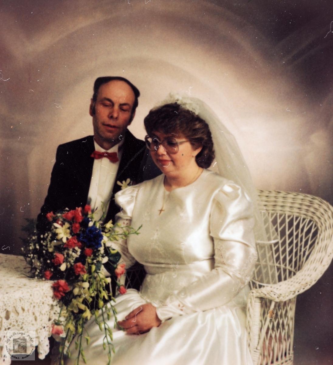 Brudeparet Torgeir Åge og Mette Rydlende. Grindheim Audnedal.