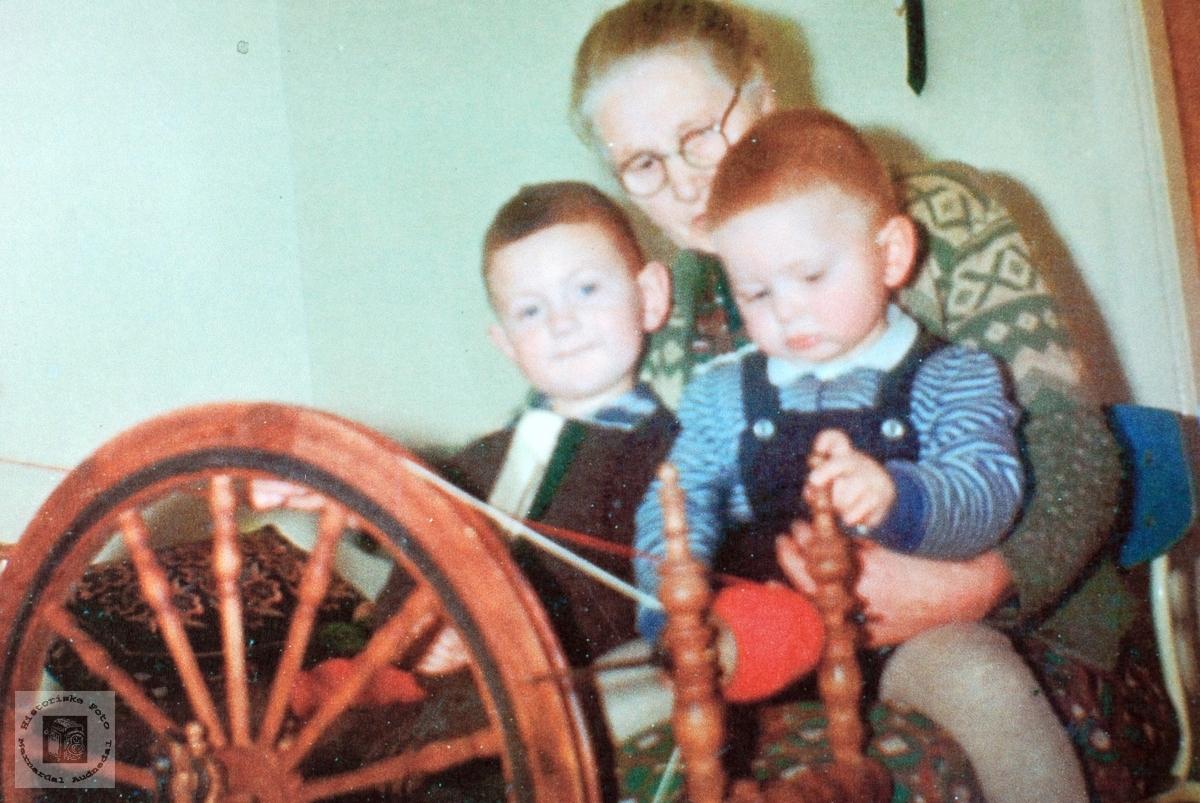 Bestemor, Martine Strædet, ved rokken med barnebarna. Audnedal.