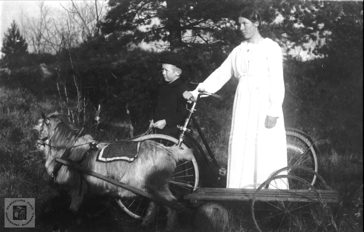 Odin og Guri Tønnesland med geitebukk. Bjelland.