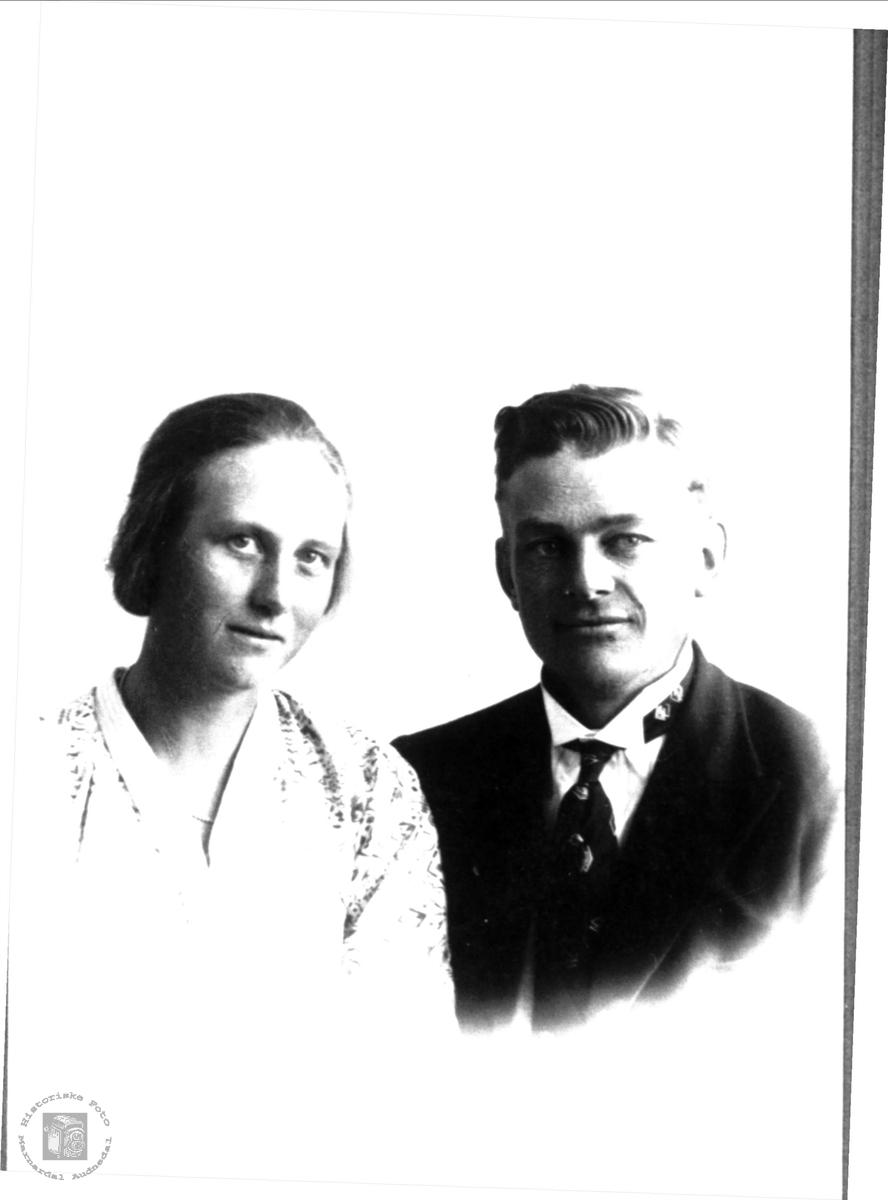 Portrett av Gunvor og Olav Flåt, Bjelland.