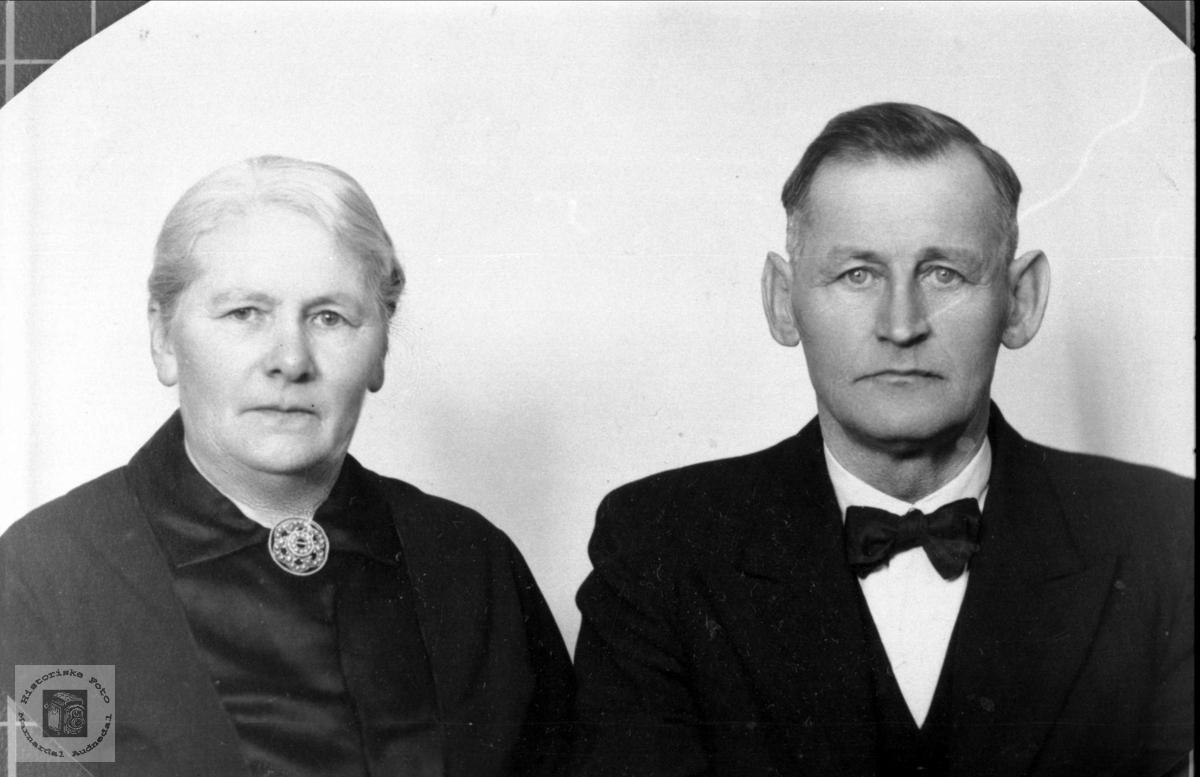 Portrett av ekteparet Kristine Amalie og Olaf Sundet, Bjelland.