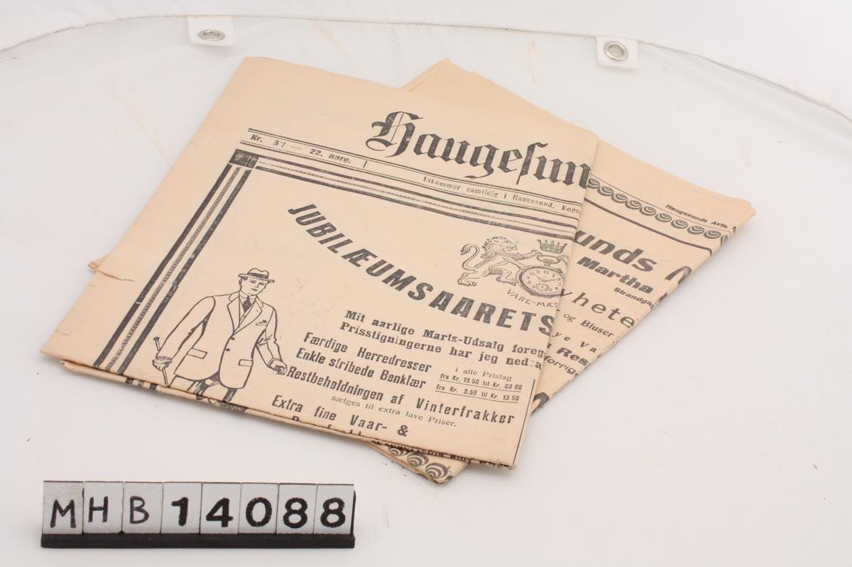 Avis utgitt samme år som Haugesunds 50-årsjubileum som kjøpstad. Den inneholder blant annet en artikkel om oldtiden av Magnus Olsen og en skildring av tusenårsfesten i Haugesund 18. juli 1872.