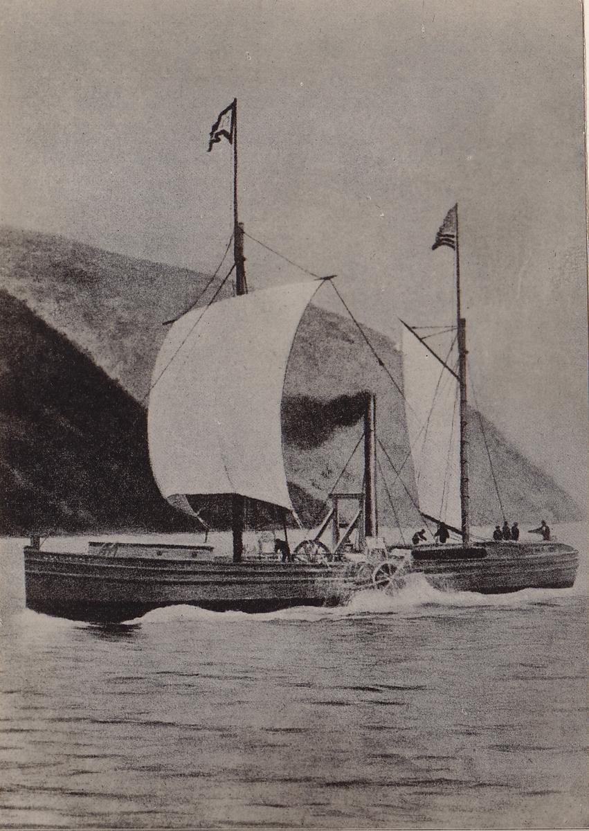 Hjul-D/S Clermont (b.1807,  Charles Browne, Hudson River, New York)