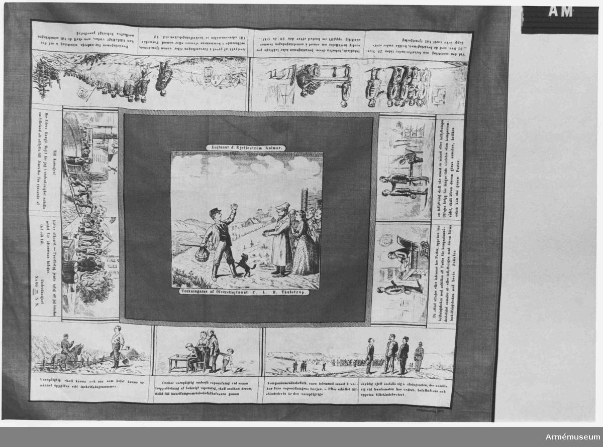 """Nytillverkad efter originalduken som är tryckt år 1885-90. För att ange att duken är i nytryck finns i nedre högra hörnet texten """"Armemuseum 1975"""". Den ursprungliga duken är förlagd av J Kjelleström, Kalmar, och den kallades Beväringsmans åligganden."""