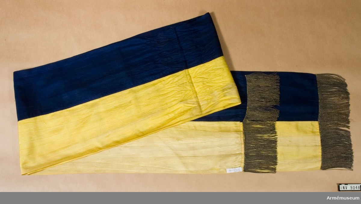 Kravatten (fanbandet) är på längden hälften gul och hälften blå. I vardera änden en enkel guldfrans. Tidigare deponerad 1953-10-30 avg 469 till Hälsinge regemente.  Samhörande nr är 33/155 + 9048-9049.