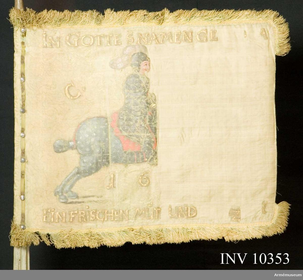 Grupp B I.  Duk av grön sidendamast, dubbel, med målade emblem. På inre  sidan: En ryttare klädd i kyrass och hjälm med uppfällt visir och röd hjälmbuske, ridande på en utåt galopperande skimmel med  röd mundering. Ryttaren avfyrar en med höger hand hållen  hjullåspistol. Inskrift i guld: i båge över ryttaren C.(R.S)  och under densamma 16(66). Längs övre kanten: IN GOTTES NAMEN  GE(.....) och längs undre kanten: EIN FRISCHEN MUT(H) UND (......)Z(..). På yttre sidan: Samma ryttare, dock sedd från motsatt sida samt inskrift i guld: C.R.S i båge över ryttaren  och 1666 under densamma. Längs övre kanten: AUF GOTT HOFFE ICH  och längs den nedre: DAS GLÜCK ERFREÜE MICH. Kantad med grön  frans 5 cm bred samt fäst med förtenta järnspikar på grönt  sidenband.Stång av furu, målad gråvit. Räfflad såväl ovan som nedan handgreppet. Försedd med löpande bärring på stång av järn. Förstärkt med tre järnskenor inlagda i räfflorna. Längd: från spetsen till dukens nederkant 0,53 m, till handgreppet 2,0 m, handgreppets längd 0,14 m och total 2,78 m.Spets av järn, förgylld. Blad och holk i ett stycke. Bladet enkelt med genombrutet spegelmonogram C. Holken upptill med en  kulformig vulst. Fäst med två stycken 8 cm långa skenor. Längd 0,24 m därav holk 0,09 m.Tillstånd: Duken blekt och trasig, yttre kanten med frans  saknas, de målade emblemen starkt skörade och delvis borta. Konserverad och kompletterad med färgat råsiden, delvis insydd i crepelin. Stångens klack saknas. Beskrivning enligt Cederström.