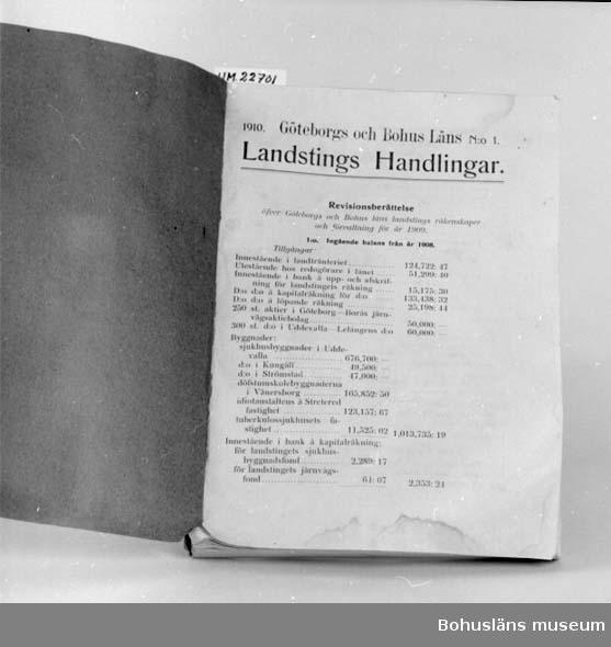 """594 Landskap BOHUSLÄN 394 Landskap VÄSTERGÖTLAND  """"Göteborgs och Bohus Läns Landstings handlingar 1910 No 1"""".  UM 131:8"""