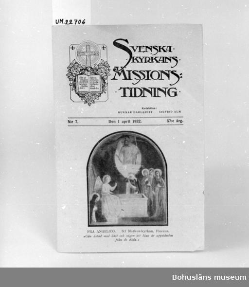 """594 Landskap BOHUSLÄN 394 Landskap UPPLAND  """"Svenska Kyrkans Missionstidning. Redaktion: Gunnar Dahlquist, Sigfrid Alm.  N:r 7, den 1 April 1932, 57:e  Årg.""""  UM 132:1"""