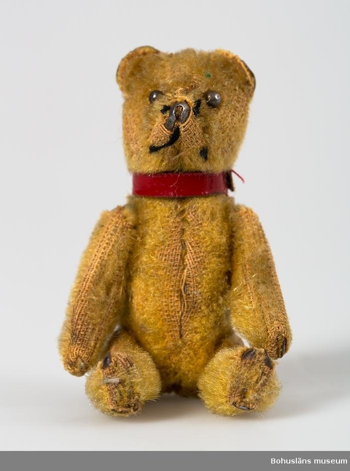Sliten gulbrun ylleplysch. Rött galonband kring halsen. Nos, ögon, klor av bly. Ledad huvud, armar och ben. Sliten.  Signe Macfie (1906-1995), övriga personuppgifter; se UM25667.