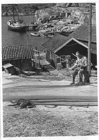 """Enligt tidigare noteringar: """"Sjöviken, Hamburgö, hamn med sjöbodar vid brygga kuttern """"Alfhild"""", man med nät.  Repro 1985 av foto tillhörande Helge Akervall, Hamburgö""""."""