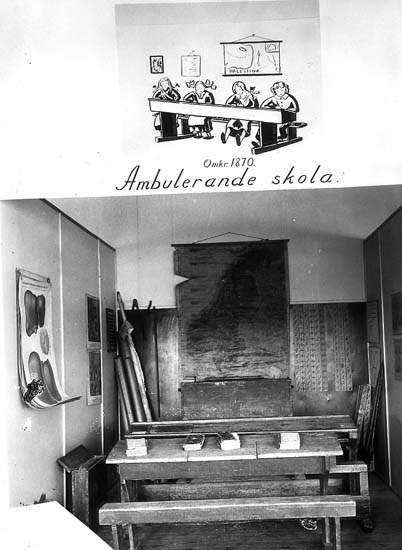 """Text på kortet: """"Omkr. 1870 Ambulerande skola""""."""