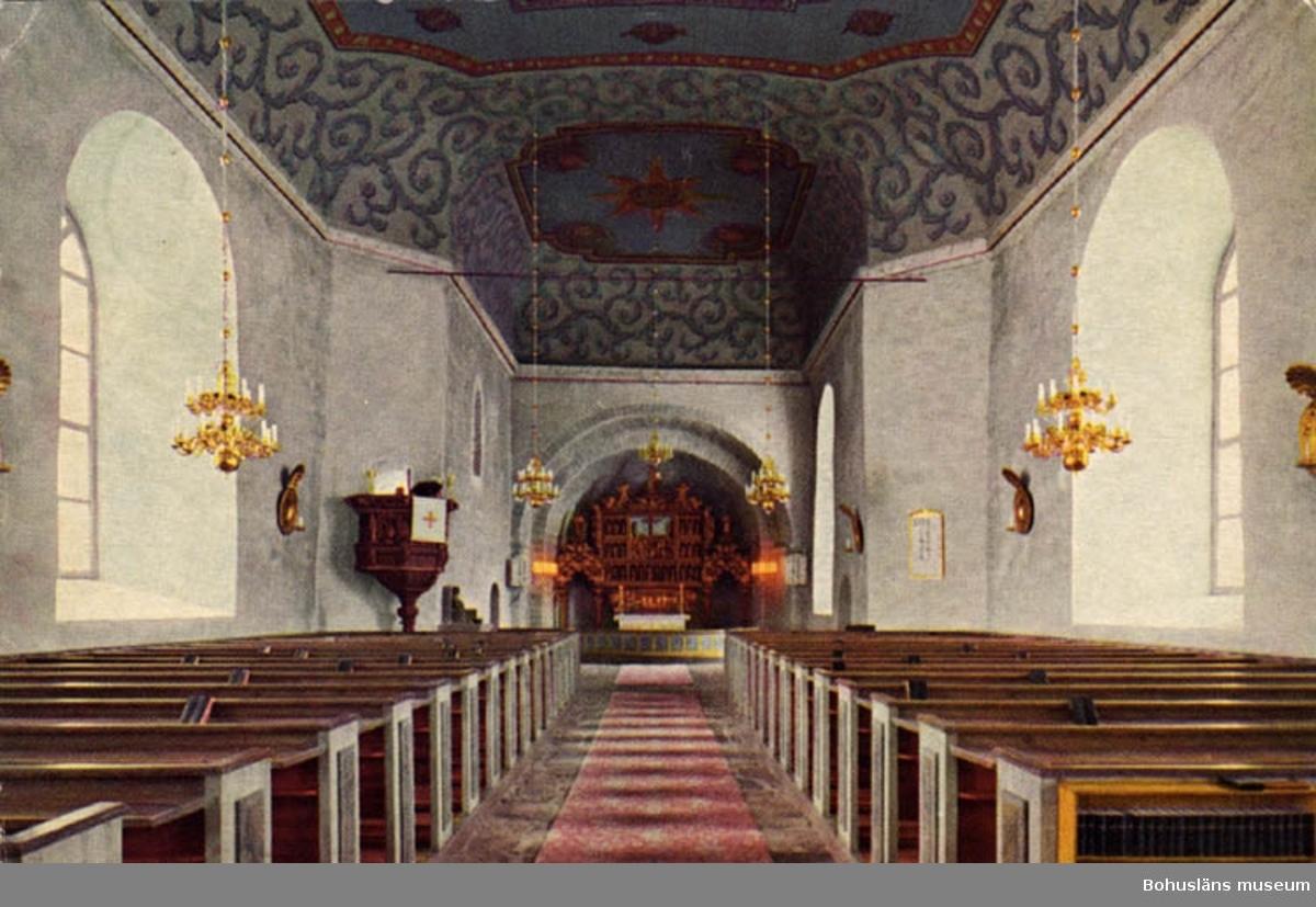 Interiör Skee kyrka. H. Ljungberg & Co. AB, Sjöbo. (Tryckt text på bildens baksida.)