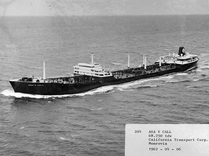 T/T Asa V. Call DWT. 68.250 Rederi California Transport Corp., Monrovia Kölsträckning 60-09-16 Nr. 204 Leverans 62-04-06 Tankfartyg