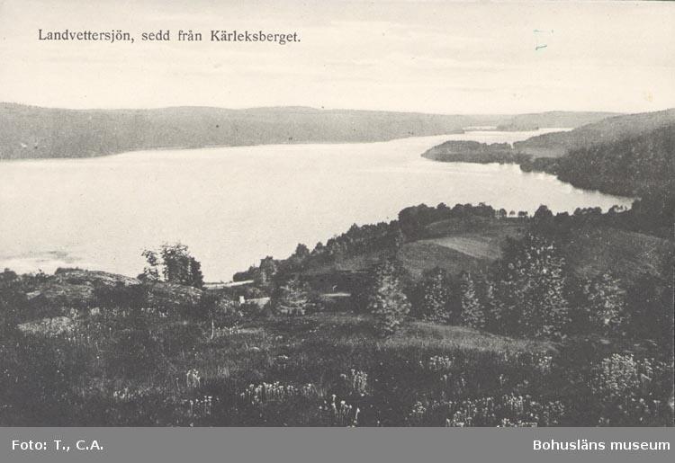 """Tryckt text på kortet: """"Landvettersjön, sedd från Kärleksberget"""". """"FÖRLAG: AKTIEBOLAGET GÖTEBORGS KONSTFÖRLAG""""."""