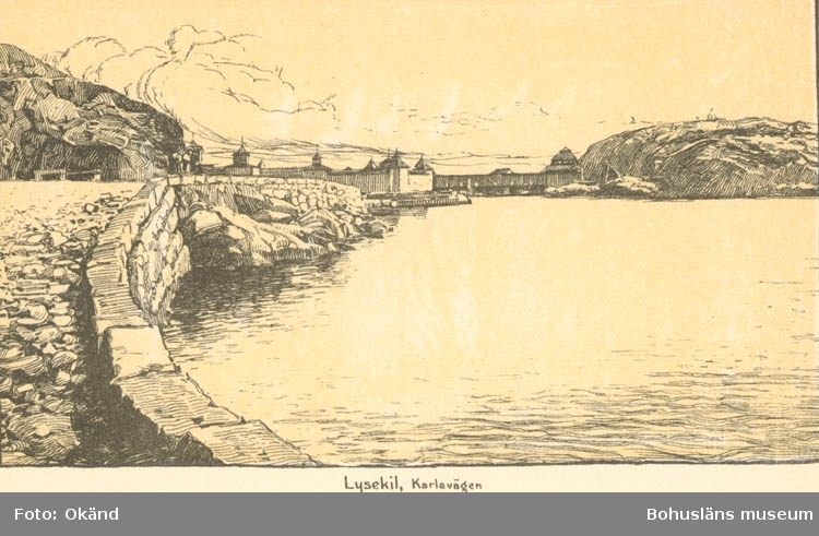 """Tryckt text på kortet: """"Lysekil, Karlavägen."""" """"Lysekils Pappers- & Musikhandel, (Gerda Ohlsson)."""""""