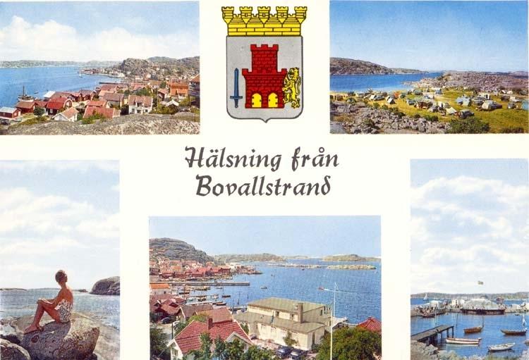 """Tryckt text på kortet: """"Hälsning från Bovallstrand."""" """"Ultraförlaget A.B. Solna."""""""