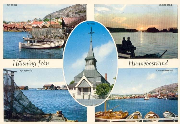 """Tryckt text på kortet: """"Hälsning från Hunnebostrand."""" """"Sjöbodar, Solnedgång, Ryssjetork, Hunnebostrand, Kyrka."""""""