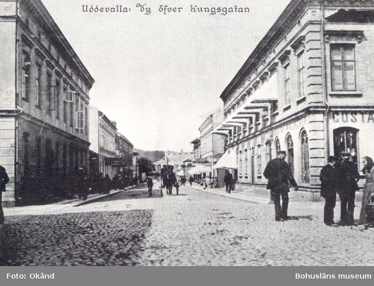 """Tryckt text på kortet: """"Uddevalla: Vy öfver Kungsgatan.""""  """"Reproduktion av foto tillhörande Uddevalla Museum."""""""