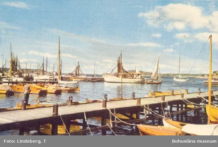 """Tryckt text på kortet: """"Hamnmotiv från Bohuslän."""" """"Ensamrätt: A.B. Högströms Pappersaffär, Uddevalla."""""""