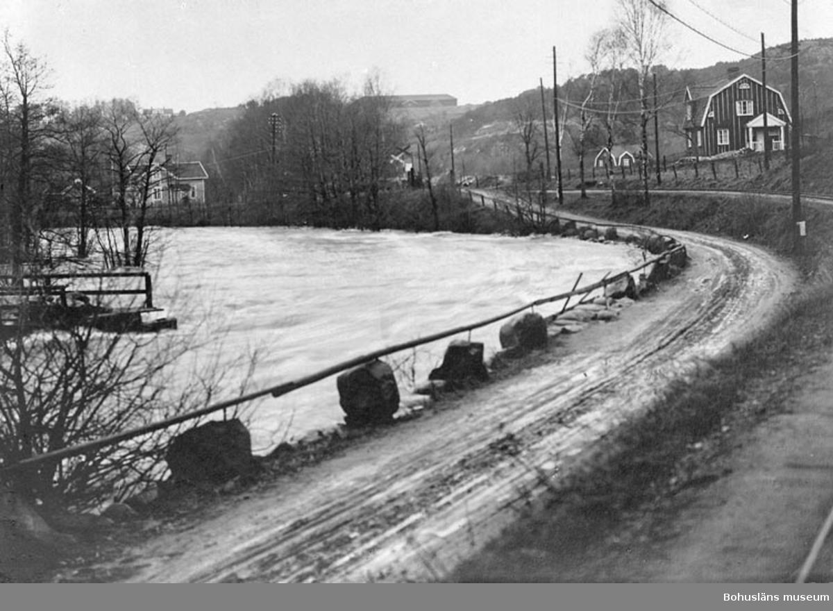 """Enligt fotografens noteringar: """"1927 öfversvämning finns ev. bättre plåt C G Johansson? bro till Hedeholm öfersv, 1927."""""""