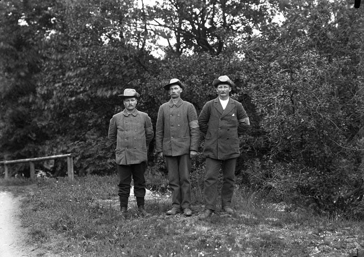 """Enligt fotografens notering: """"3 Landstormsmän fr. 1914 i Munkedal."""""""