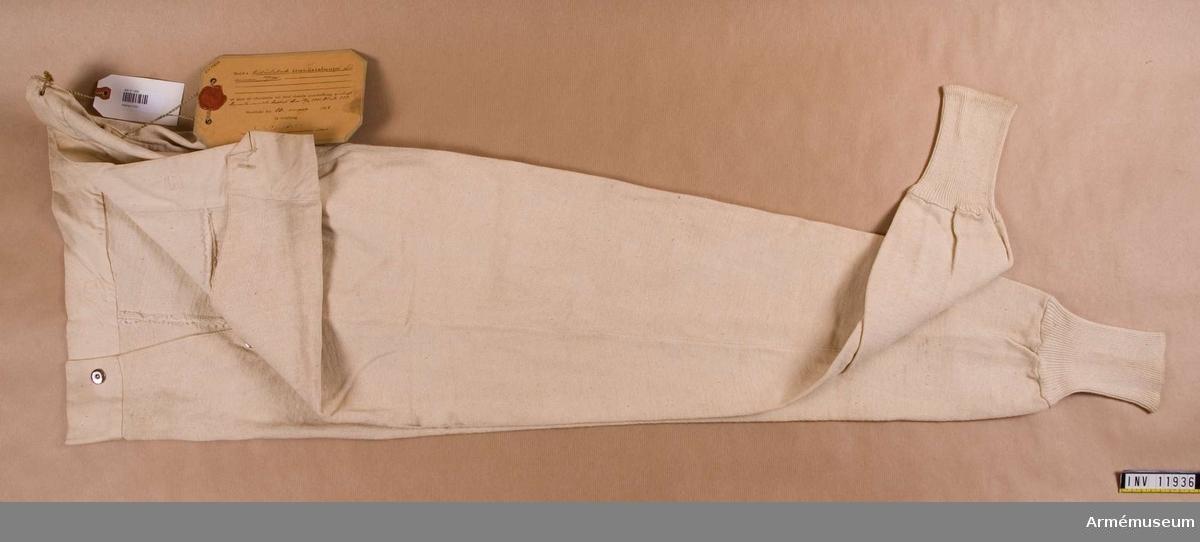 Kalsonger m/1901.Grupp C I. Bomull, trikåstickade.