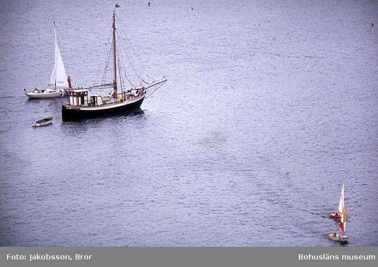"""""""En liten jakt och en segelbåt. Fjällbackafjorden""""."""