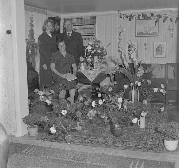 """Text till bilden: """"Fru Ekblad, Bansviksgatan 12. 50 år. 1957.08.23"""""""