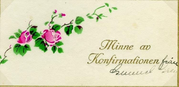 Text på kortet: Minne av Konfirmationen från Gunnel Gren.