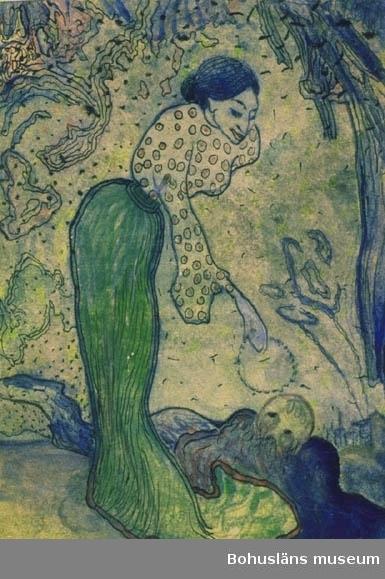 Kvinna med törnekrans, som hon väcker man vid sina fötter. Å.s.blad som RL345, 1905 Tillkomstort  Stockholm. För uppgifter om konstnären Ragnar Ljungman, se RL001.