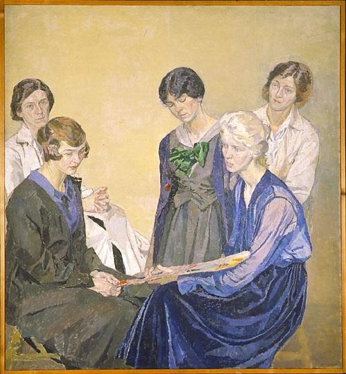 Fem kvinnliga elever