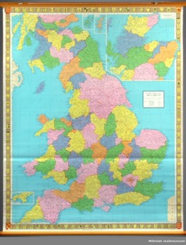Geografisk karta över Storbritannien.I gott skick.
