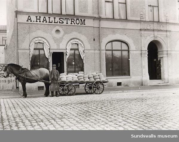 A. Hallströms affär, gata, man, häst och vagn.
