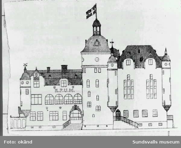 Ritning för KFUM i Sundsvall. Bygget kom aldrig i gång eftersom pengar fattades.