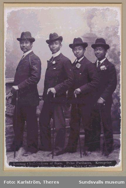 Kung Chulalongkorn av Siam med tre av prinsarna på besök i Sverige 1897.