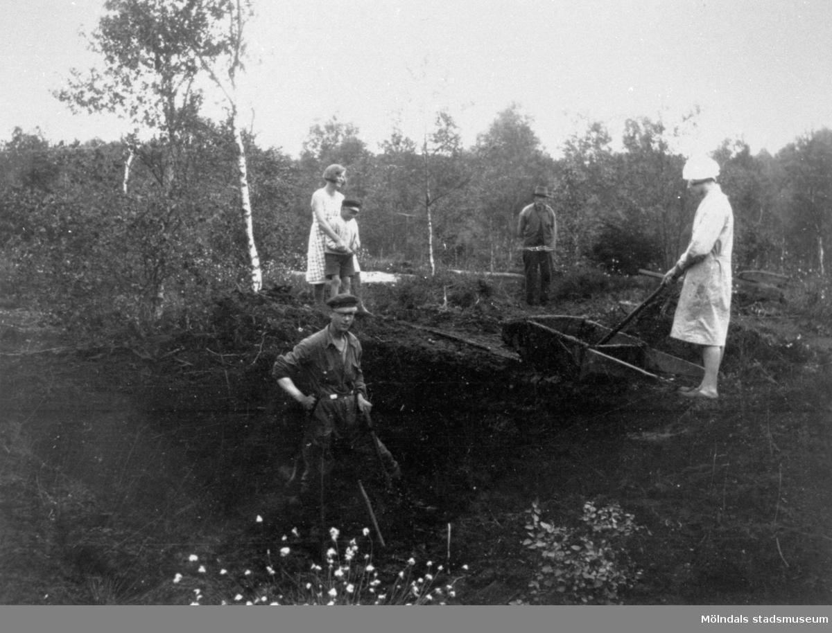 Arbete på torvfältet vid Fageredsmossen i Lindome, 1933. Upptagning av torv. Se även MMF1992:0046.