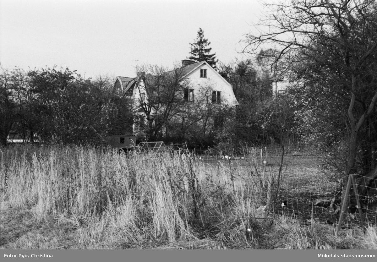 Vy från Järnvägsgatan mot ett hus vid Trädgårdsgatan, 30/1 1991.