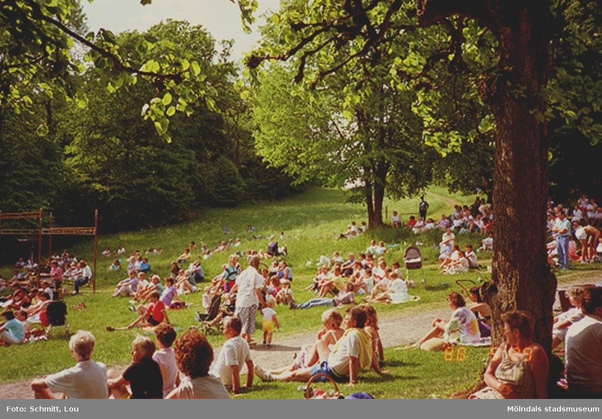 Människor sitter i gräset och lyssnar på någonting.