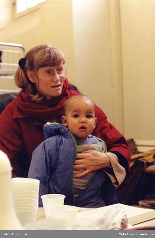 Pia Hansson med son.