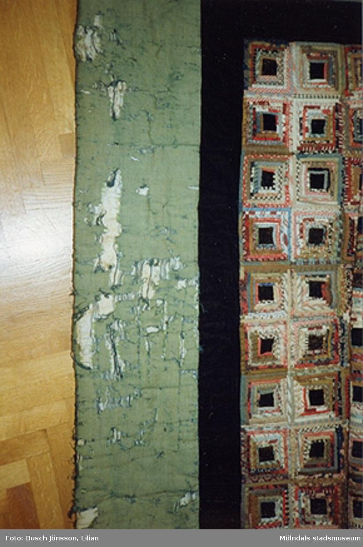 """Färgfoto på """"Vikingtäcket"""". Bilden inlämnades till Mölndals museum tillsammans med ett brev som finns i arkivet. Museet hade en lapptäcksutställning 1993."""