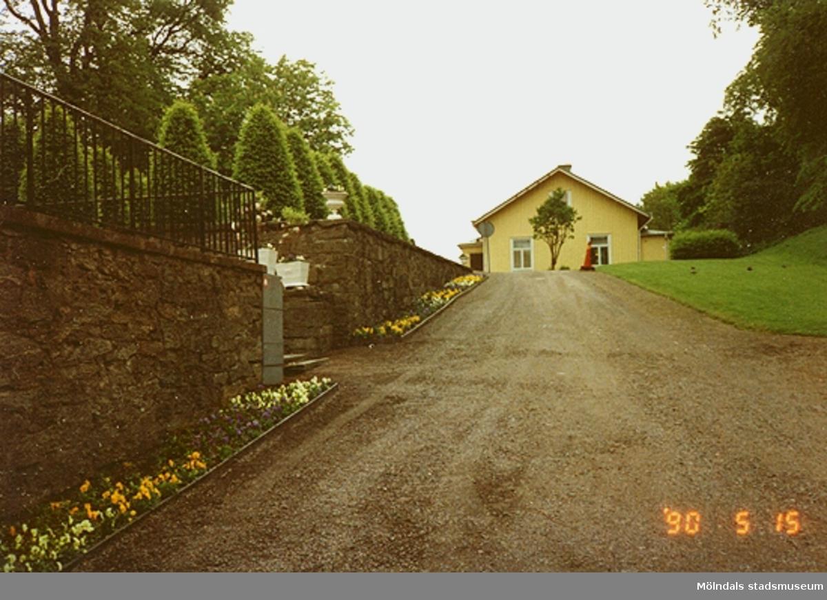 Skog ligger på var sida om huset. Till vänster ser man en stenmur och plantering, maj 1990.