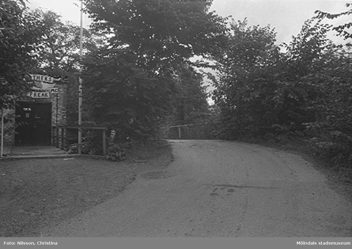 Grusväg och bro vid Grevedämmet, Kvarnfallet 31. Hösten 1994.
