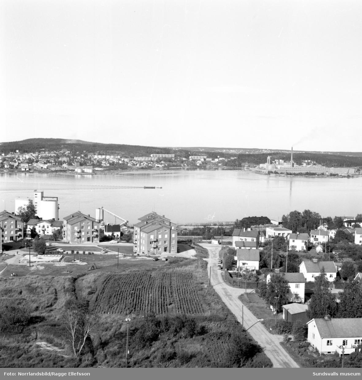 Bilder tagna åt olika håll från höghuset på Skönsmon.