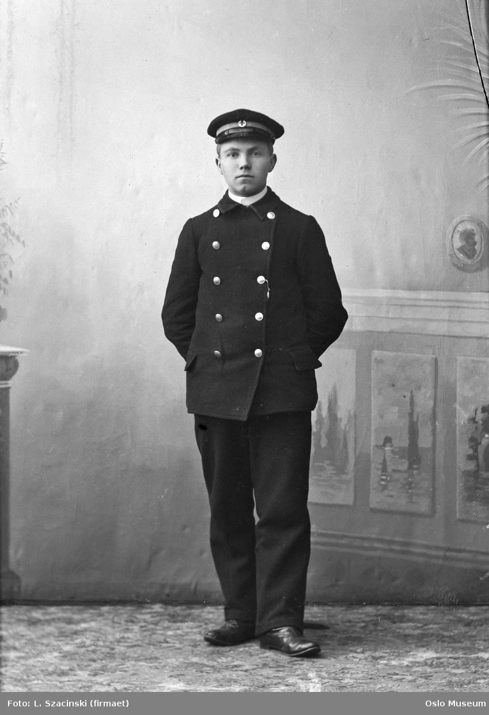 portrett, mann, hospitalsportner, uniform, stående helfigur