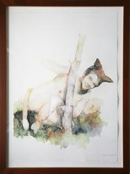 Wilhelmreven bak et tre [Maleri]