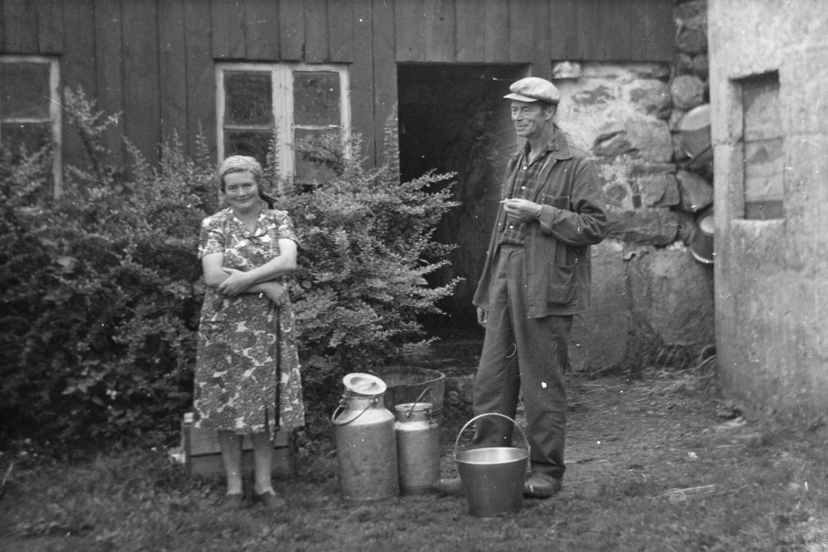 mann,kvinne,fjøsdør, mjølkespann, bøtte