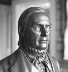 Byste av predikanten Hans Nielsen Hauge.